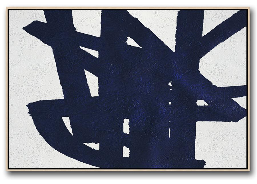 Abstract Artwork Online,Horizontal Navy Painting Abstract Minimalist Art On Canvas,Canvas Wall Art Home Decor